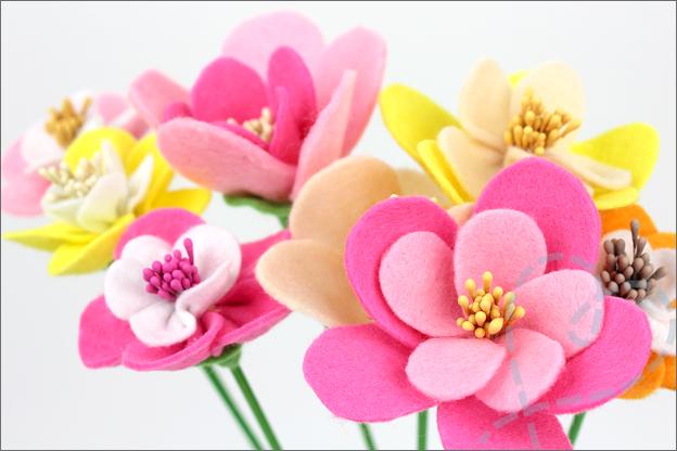 Bloemen van vilt boeket knutselen