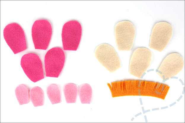 Bloemen van vilt onderdelen knippen