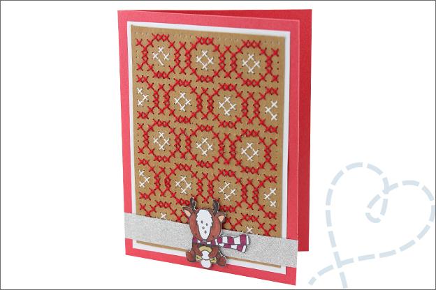 Kerstkaarten maken borduren clear stamps hert