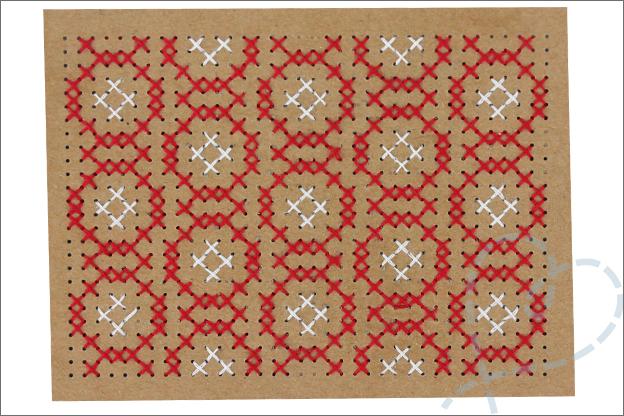 Kerstkaarten maken borduren grafisch patroon