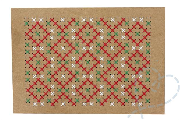 Kerstkaarten maken borduren kerst