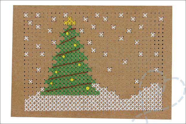 Kerstkaarten maken borduren kerstboom