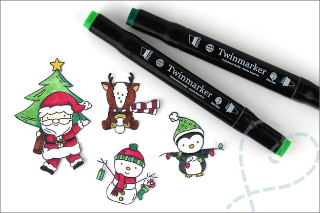 Kerstkaarten maken clear stamps inkleuren twinmarkers