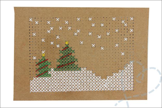 Kerstkaarten maken gratis borduurpatroon kerst