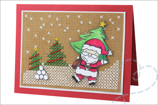 Kerstkaarten maken uitleg borduren