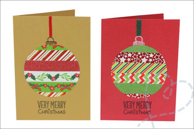 Kerstkaarten zelf maken kerstbal washi tape