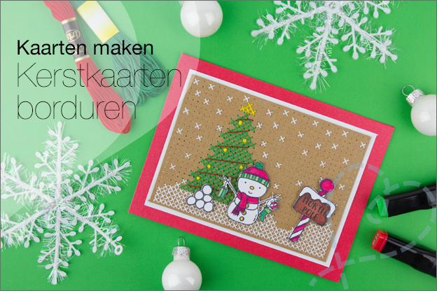 Kerstkaarten zelf maken uitleg borduren clear stamps