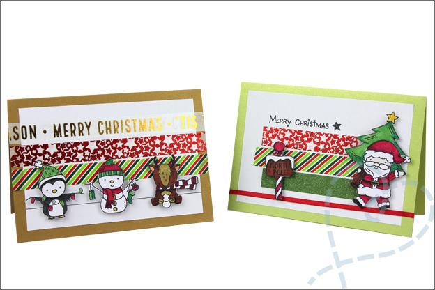Kerstkaarten zelf maken washi tape clear stamps
