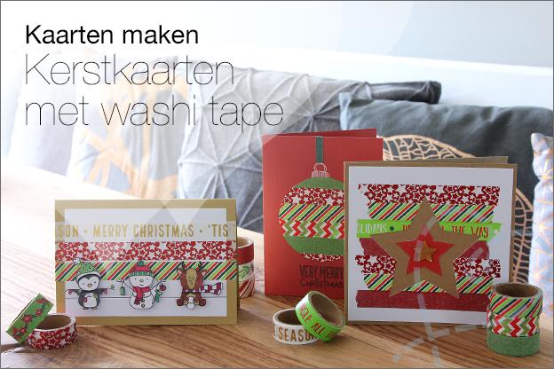 kerst kaarten maken met washi tape inspiratie ideeen