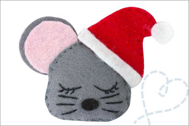 vilt patroon gratis kerstmuis kerstbal