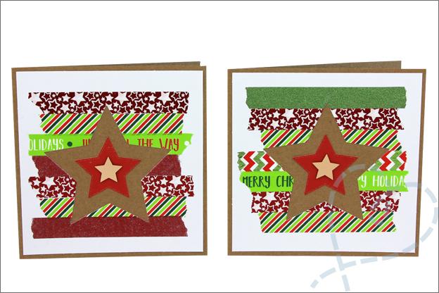 zelfgemaakte kerstkaarten washi tape action