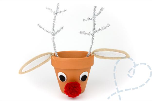 DIY Kerst Rudlof bloempot eindresultaat