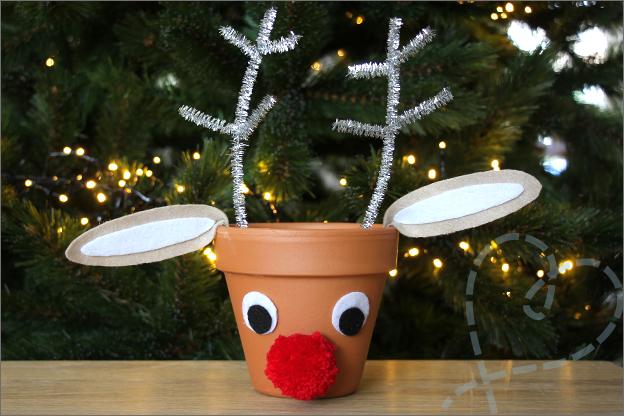 DIY Kerst Rudlof bloempot makkelijk eindresultaat