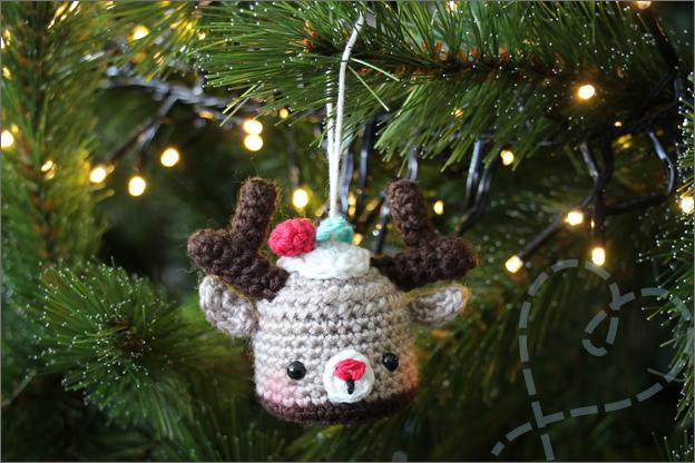 Haken kerstbal hert cupcake eindresultaat kerstboom