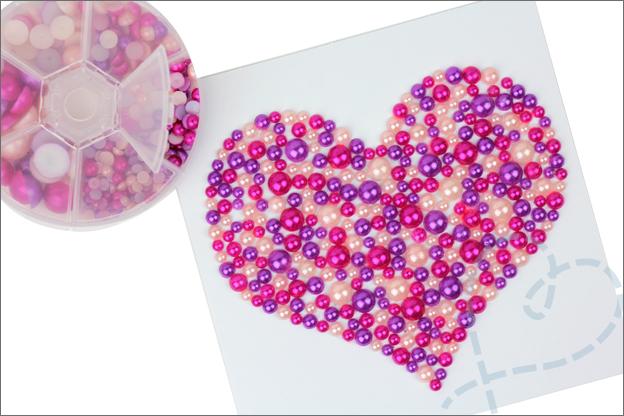 Kaarten maken hart parels
