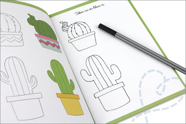 Kruidvat werkboek art journaling cactussen tekenen