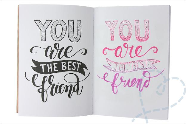 Kruidvat werkboek handletteren quote tekenen