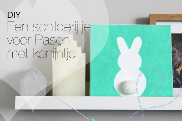DIY schilderij canvas Pasen konijntje
