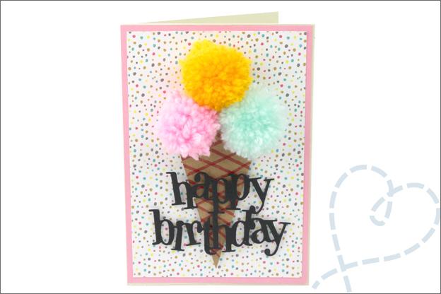 kaarten maken met pompons ijsje verjaardag