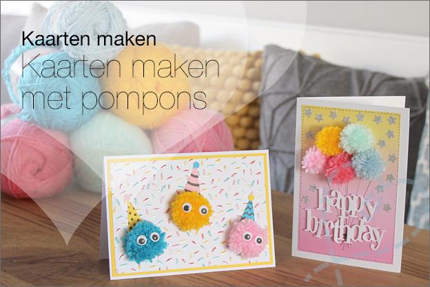 kaarten maken pompons verjaardag uitleg