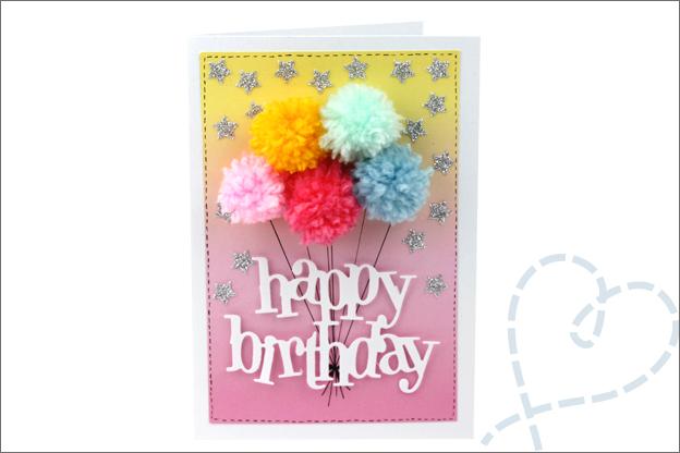 kaarten maken verjaardagskaart ballonnen pompons