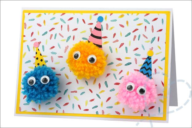 verjaardagskaart knutselen feesthoedjes monsters