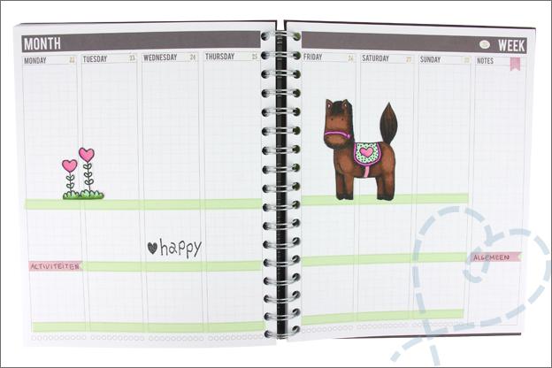 Agenda versieren met stempels stickers