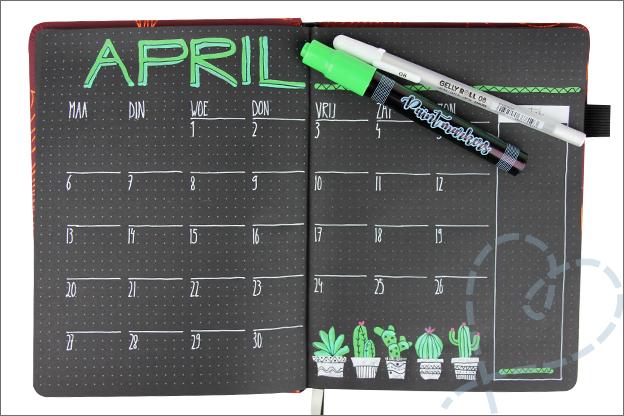 Bullet journal Zwart maandpagina april thema cactussen