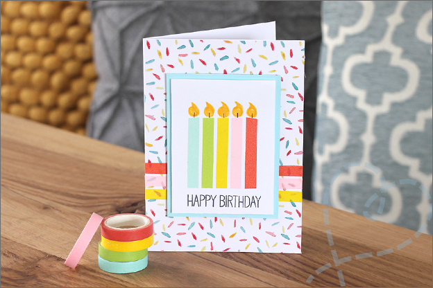 Kaarten maken washi tape verjaardagskaart kaarsjes
