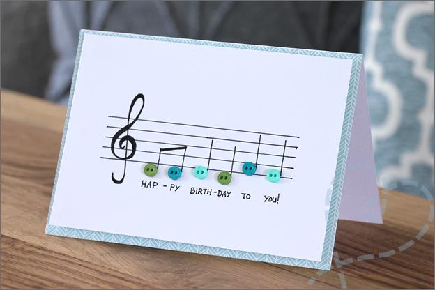 kaarten maken muziekbalk muzieknoten inspiratie