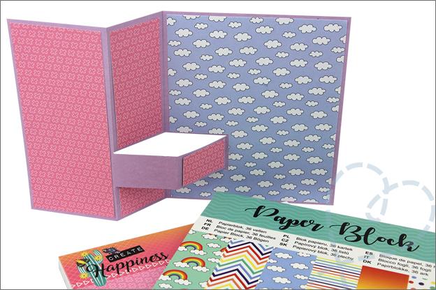 Staande vouwkaart inspiratie versieren papierblokken