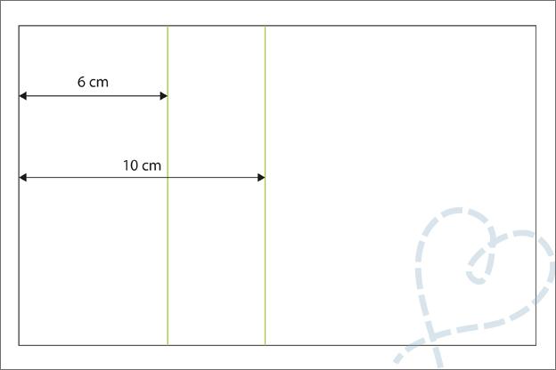 Staande vouwkaart uitleg vouwlijnen