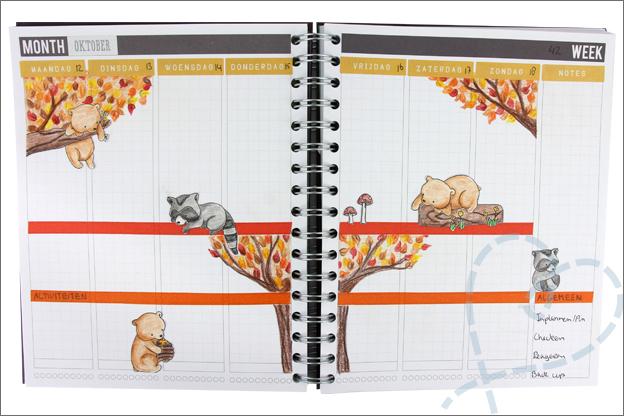 Agenda versieren thema herfst dieren stempels kleuren