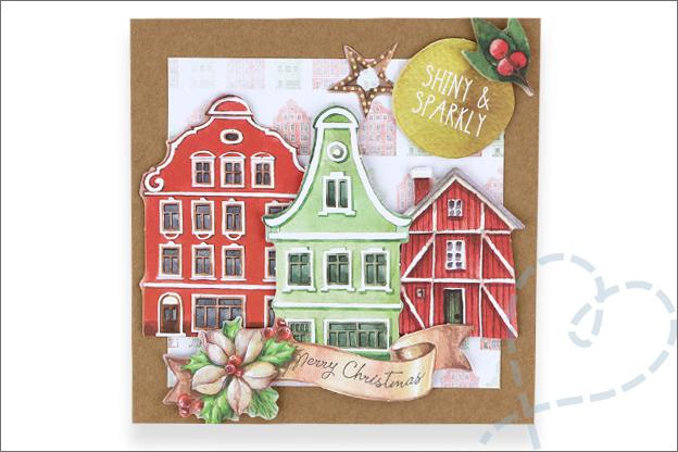 Action decotime kerstkaart huisjes