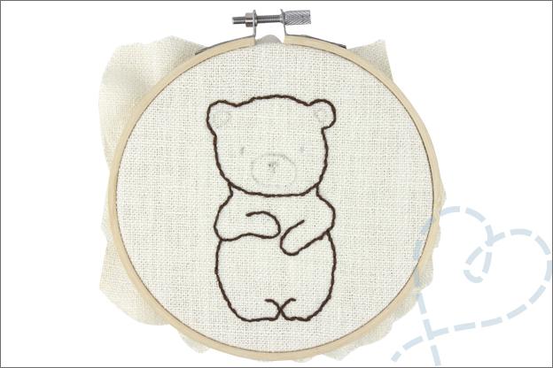 Borduren beer borduurgaren stiksteek