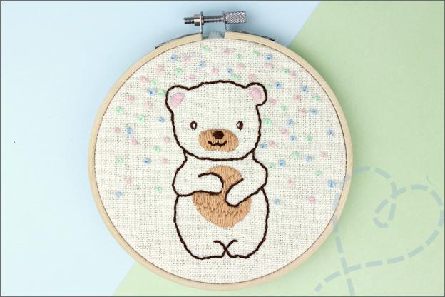 Borduren beer gratis borduurpatroon eindresultaat