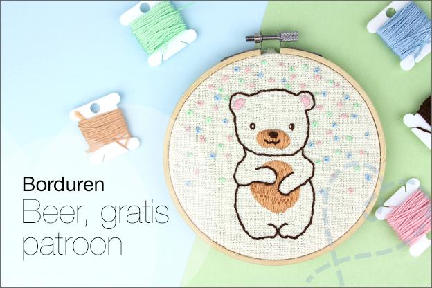 Borduren beer gratis borduurpatroon en uitleg