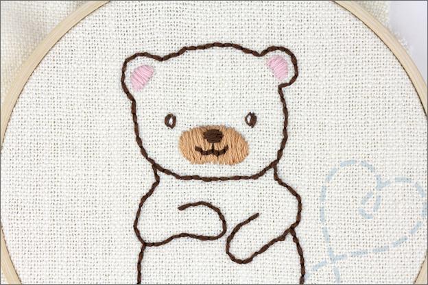 Borduren beer hoofd oren snuit
