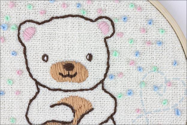 Borduren beer knoopsteek uitleg confetti