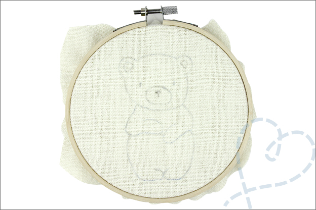 Borduren beer patroon op stof borduurring