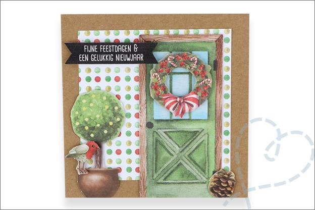 Decotime luxe papierblok kerstkaart met huis