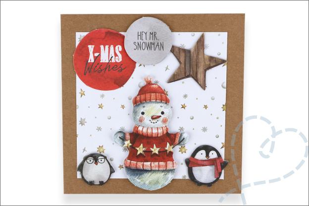 Decotime luxe papierblok kerstkaart sneeuwpop