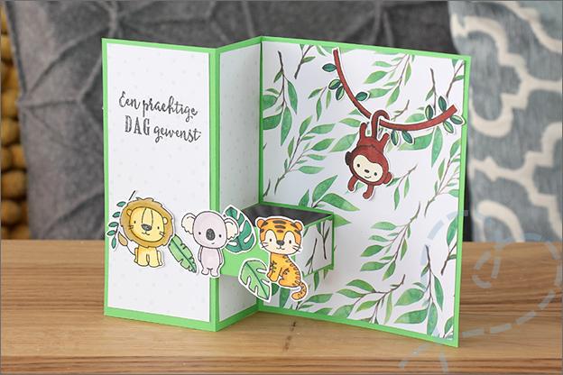 Staande vouwkaart thema jungle clear stamps