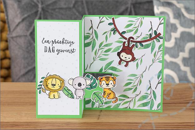vouwkaart jungle thema stempels