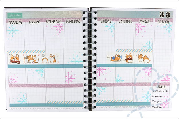 Agenda stickers washi tape corgi hond