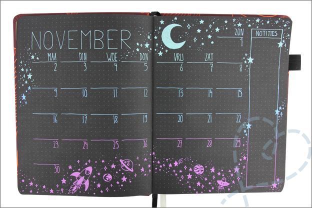 Bullet journal inspiratie thema ruimte space
