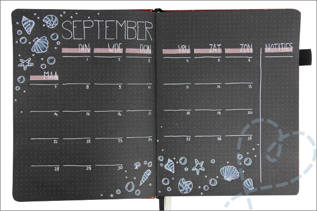 Bullet journal september maand indeling