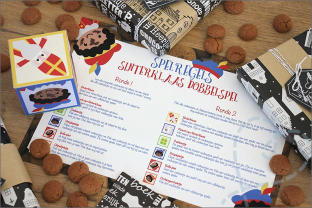 DIY Sinterklaas dobbelspel gratis dobbelsteen spelregels