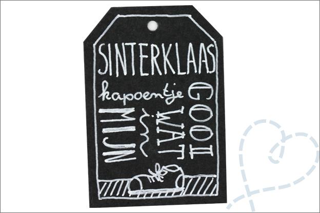 DIY sinterklaas liedje naamlabel handletteren