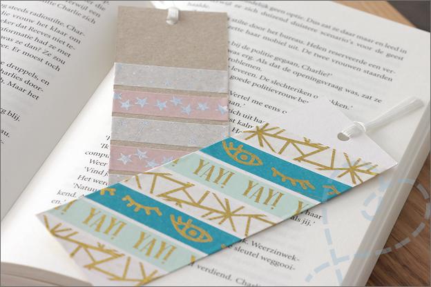 DIY Washi tape Boekenlegger papier